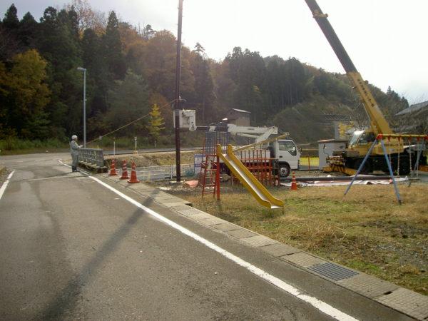 野外拡声子局用鋼管柱設置工事